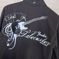 Fender Telecaster Graphic L/S Button Shirt Pinstriped 100% Cotton Men's Size M
