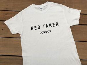 Mens Funny Slogan t shirts Fancy Dress Retro Tee Shirts Bed Taker