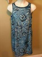 J Jill Love Linen Sz Small  Blue Paisley Pullover Shift Sleeveless Dress