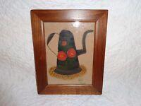 Bill Rank Toleware Coffee Pot Folk Art Painting Theorem, Signed, Framed
