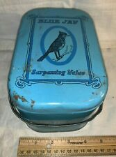 New ListingAntique Blue Jay Tin Litho Lunch Box Pail Style Tobacco Can Country Store Bird