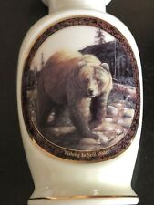 Vintage Islandia Vase The Grizzly Bear Fishing In Still Water Porcelain Big Game
