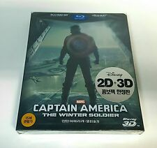 CAPTAIN AMERICA The Winter Soldier [2D+ 3D] Blu-ray STEELBOOK [KOREA] NEW / OOP