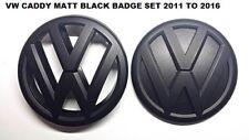 VW Caddy Matt Black Front & Rear Badge Set 2011 to 2016 UK Seller.