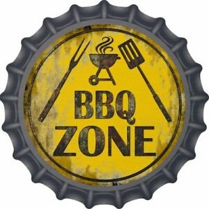 "BBQ ZONE BOTTLE CAP STYLE 12"" ROUND LIGHTWEIGHT METAL WALL SIGN DECOR"