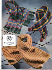 Vintage 1940s/50s knitting pattern-how to make pretty lace,striped scarves,scarf