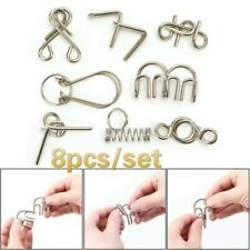 8Pcs set Metal Wire Puzzle Games IQ Mind Test Brain Teaser Toys for Kids Adults