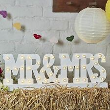 Ginger Ray Mr & Mrs a batteria in legno LED accendere Segno Bianco