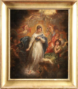 18th CENTURY LARGE FRENCH OLD MASTER OIL ON CANVAS - ASSUMPTION OF THE VIRGIN