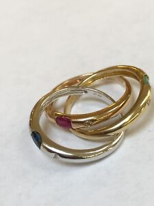 14k Three tone gold Ruby, Sapphire, Emerald , and Diamonds Constellation ring