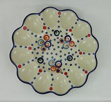 Bunzlauer Keramik Eierteller, Eierplatte, Servierteller, für 12 Eier (T140-AS38)