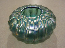 CORREIA ART GLASS BOWL SIGNED NUMBERED SEA FOAM GREEN AND GOLD