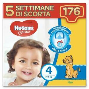 Huggies Pannolini Unistar Taglia 4 Maxi Confezione da 176 Pannolini (5 Settimane