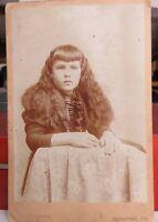 Antique Photo Girl Cabinet Card, Lottie Good Boose, Fleming Studio, Somerset, PA