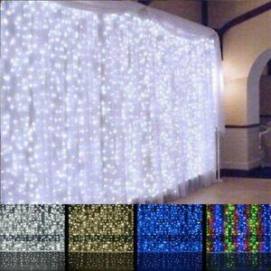 480 LEDs Curtain Lights String Fairy Net Window Wedding Party Xmas 3 x 2 Metres