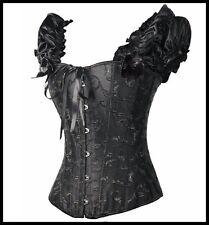 Corset Bustier new black brocade size L/XL Rock Punk overbust sexy bows Lingerie