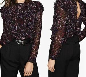 Reiss Faiza Blouse UK 8 Ruffles Floral Print Black Pink Crepe Textured Keyhole