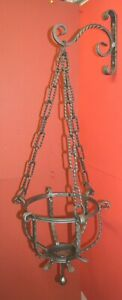 Hanging Bracket, Planter & Chain, Gothic Wrought Iron, Hand made Blacksmiths