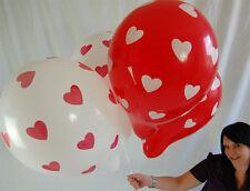 """5 x Qualatex 16"""" HERZEN Luftballons in rot/weiß *RED&WHITE*HEARTS*HOCHZEIT*"""