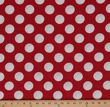 Bigg Dott Cott Large White Polka Dots on Red Cotton Fabric Print by Yard D692.30