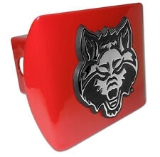 arkansas state logo all metal red chrome trailer hitch cover made in usa