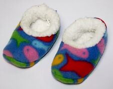 Baby Slippers Snoozies Fish Print Fleece Unisex Boy Girl 3-6 Months