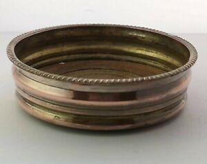 Antique Silver On Copper Wine Bottle Coaster