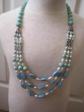 """Triple Strand Turquoise and Pearl Necklace~25""""~Free Ship~LBDFK"""
