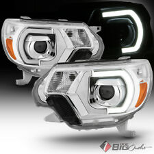 For 12-15 Tacoma Chrome Housing DRL-Light-Tube Projector Headlights