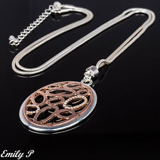 Long Statement Necklace Rose Gold Silver Tone Laganlook Ladies Long Necklace