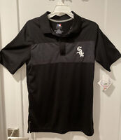 Licensed MLB Chicago White Sox Men's Baseball Polo Shirt Short Sleeve Black Sz S
