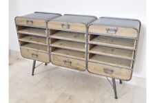 Retro Industrial Cabinet- Reclaimed Wood & Metal-Drawers and Shelving