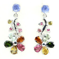 Natural  GEM Fancy Color Tourmaline Ruby Tanzanite 925 sterling Silver Earrings