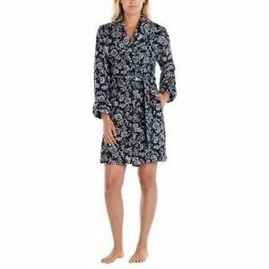 Lucky Brand Women's Shawl Collar Short Plush Robe - Navy Floral - Size XXL