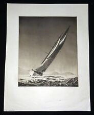"1932 Hawaii Aquatint Etching Print ""Manuiwa Yacht"" by John Melville Kelly (Kel)"