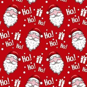 Father Christmas Santa Saint Nic ho ho ho polycotton fabric quilting decoration