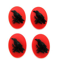 4 Goth BLACK RAVEN CROW Blackbird on Blood RED Color 40mm x 30mm Craft CAMEOS