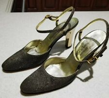 Vintage Saks Fifth Avenue Fenton Last Women's Metallic Gold & Black Heels 7
