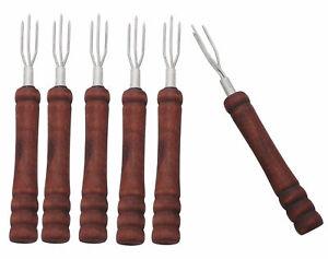 6 Pellkartoffelgabeln mit Holzgriff, Gabel für Pellkartoffel Pellkartoffelhalter
