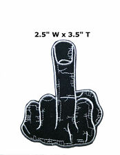 Middle Finger Embroidered Iron or Sew-on Patch Morale Tactical Biker Funny Humor