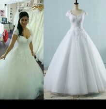 UK Plus Size White/Ivory A-line Wedding Dress Bridal Ball Gown Size 6-26