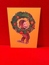 Vtg Curious George Christmas Card Collectible Yellow Wreath Ornament Candy Cane