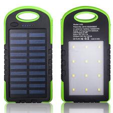 Solar Waterproof Power Bank 12000mAh Charger Battery Dual USB Port LED Lamp /GR