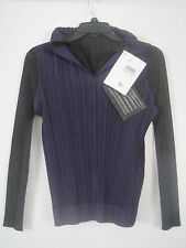 PLEATS PLEASE BY ISSEY MIYAKE BLACK PLEATED SHIRT PURPLE VEST ATTACHED SZ 3 NWT