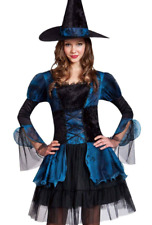 WOMENS SIZE L (12-14)  GOTHIC WITCH COSTUME  2 PIECE DRESS AND HAT BLUE MIX