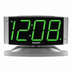 Sharp Electric Digital Dual Alarm Clock LED Large Display Battery Backup Snooze.