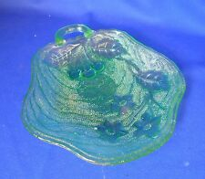 Vintage Green glass Candy Dish Cherries Blossoms Handle Dimpled Pressed