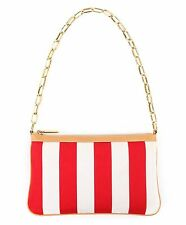 DOLCE & GABBANA Red White Candy Stripe Chain Handle Handbag Shoulder Bag Purse