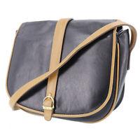 CELINE Logos Shoulder Bag Brown Black Leather Vintage Authentic #AB870 Y