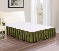 """Chezmoi Collection Solid Sage Ruffled 15"""" Drop Bed skirt Dust Ruffle, King"""